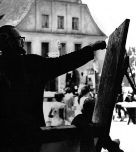 Z Władysławem Filipiakiem na kazimierskim Rynku