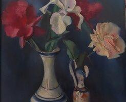 Jerzy Janisch (1901-1962), Martwa natura z kwiatami, 1927, olej, dykta, 46 x 35 cm, depozyt oddziału Kamienica Celejowska