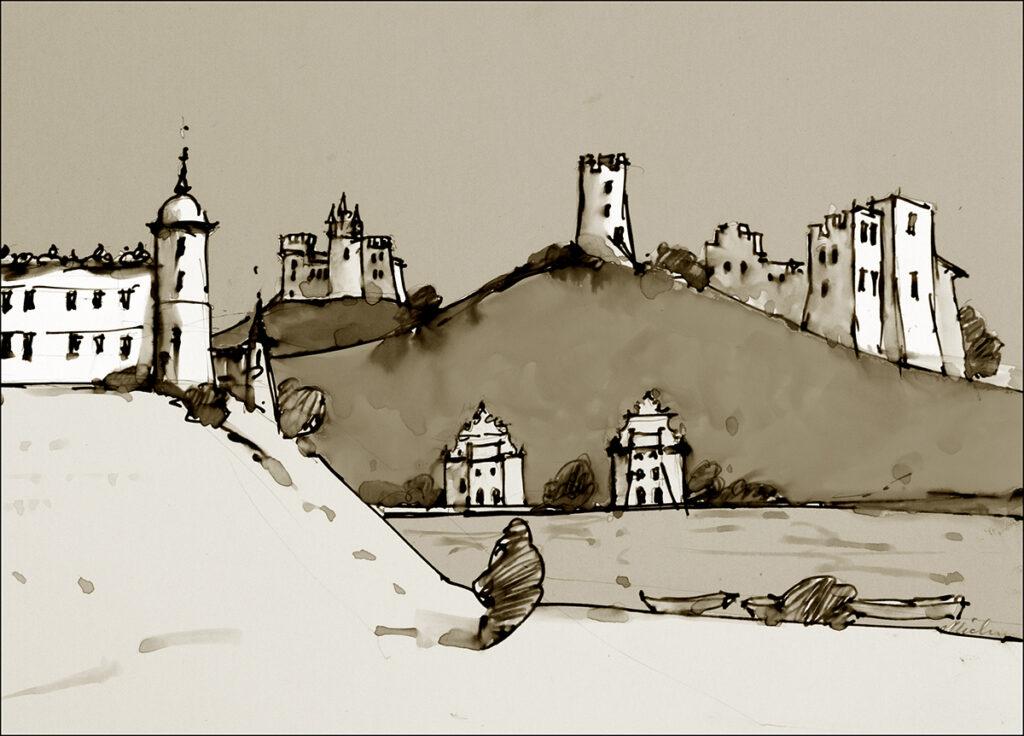 Ilustrację do legendy wykonał malarz Krzysztof Michalski.
