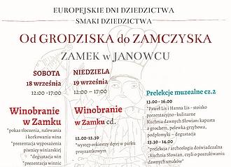 EUROPEJSKIE DNI DZIEDZICTWA – 18-19 września od godz. 12:00 do 17:00 na Zamku w Janowcu