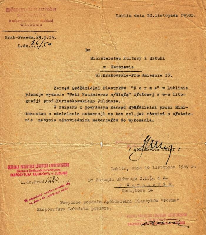 Pismo z 1950 r. dotyczące wydania teki litografii z Kazimierza nad Wisłą. Zbiory prywatne.